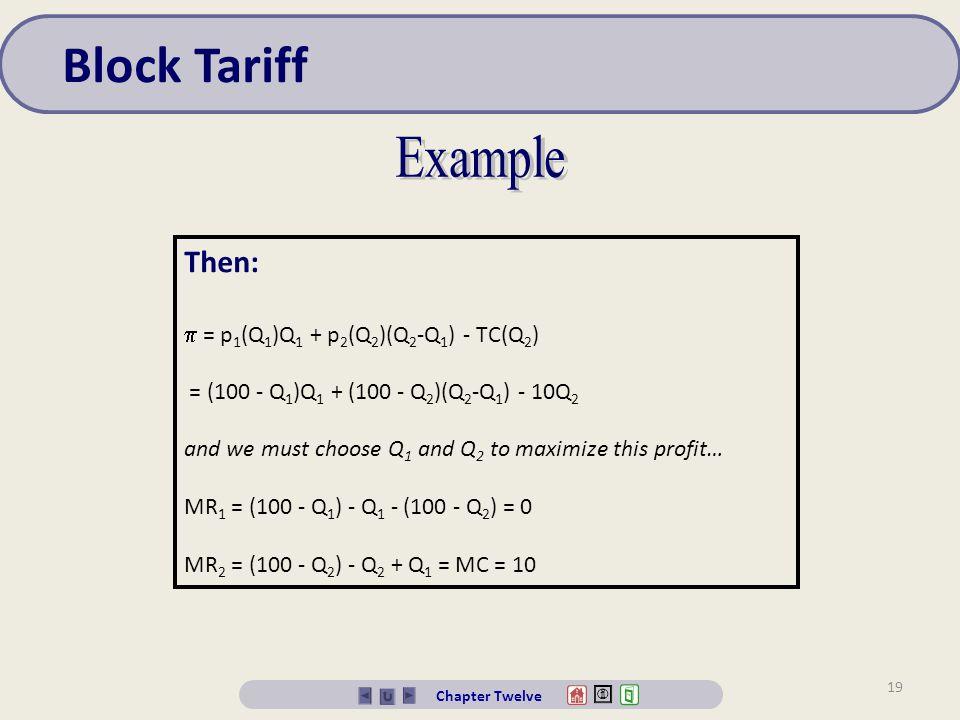 Block Tariff Example Then:  = p1(Q1)Q1 + p2(Q2)(Q2-Q1) - TC(Q2)
