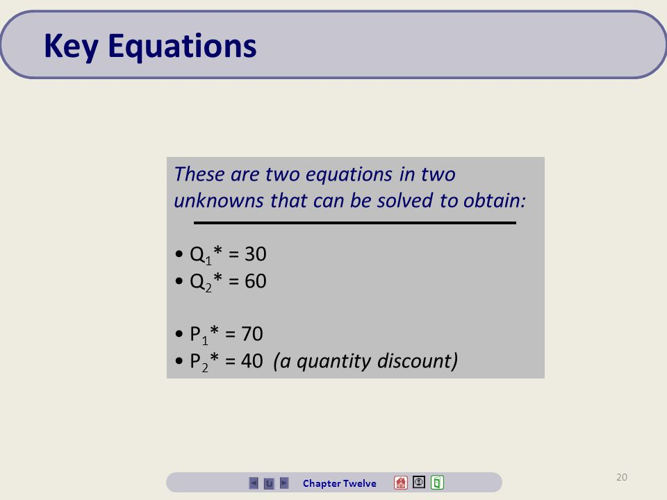Key Equations These are two equations in two unknowns that can be solved to obtain: Q1* = 30. Q2* = 60.