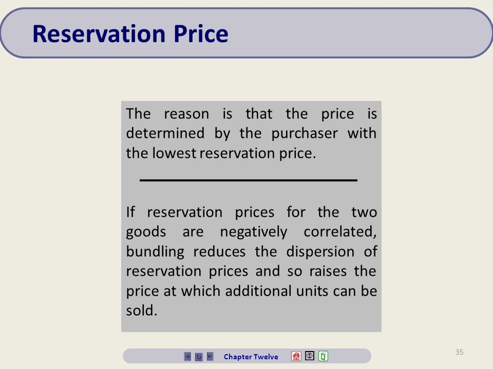 Reservation Price The reason is that the price is determined by the purchaser with the lowest reservation price.