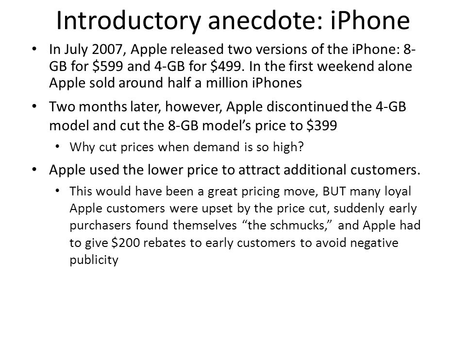 Introductory anecdote: iPhone