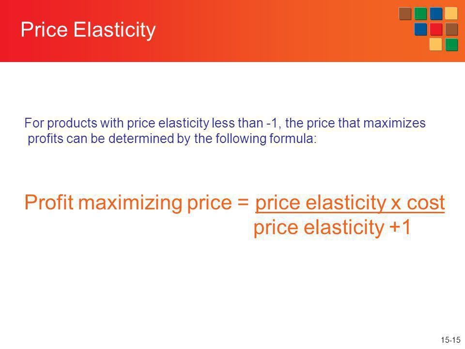 Profit maximizing price = price elasticity x cost price elasticity +1