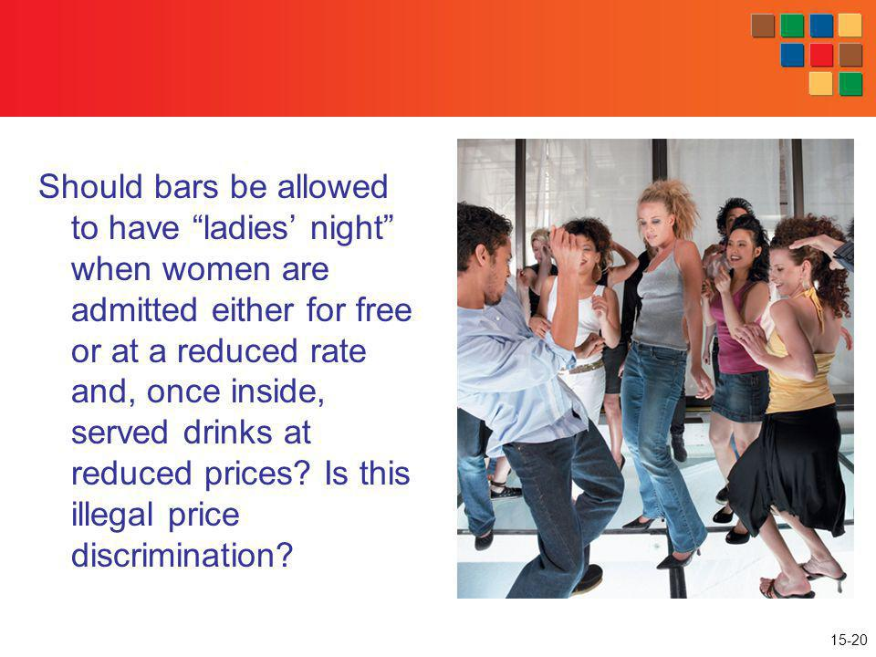 Should bars be allowed to have ladies' night when women are admitted either for free or at a reduced rate and, once inside, served drinks at reduced prices.