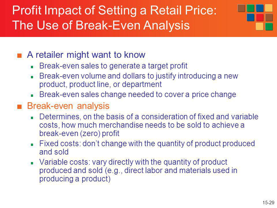 Profit Impact of Setting a Retail Price: The Use of Break-Even Analysis