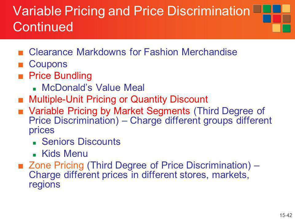 Variable Pricing and Price Discrimination Continued