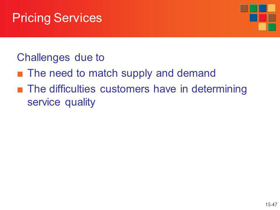 Pricing Services Challenges due to The need to match supply and demand