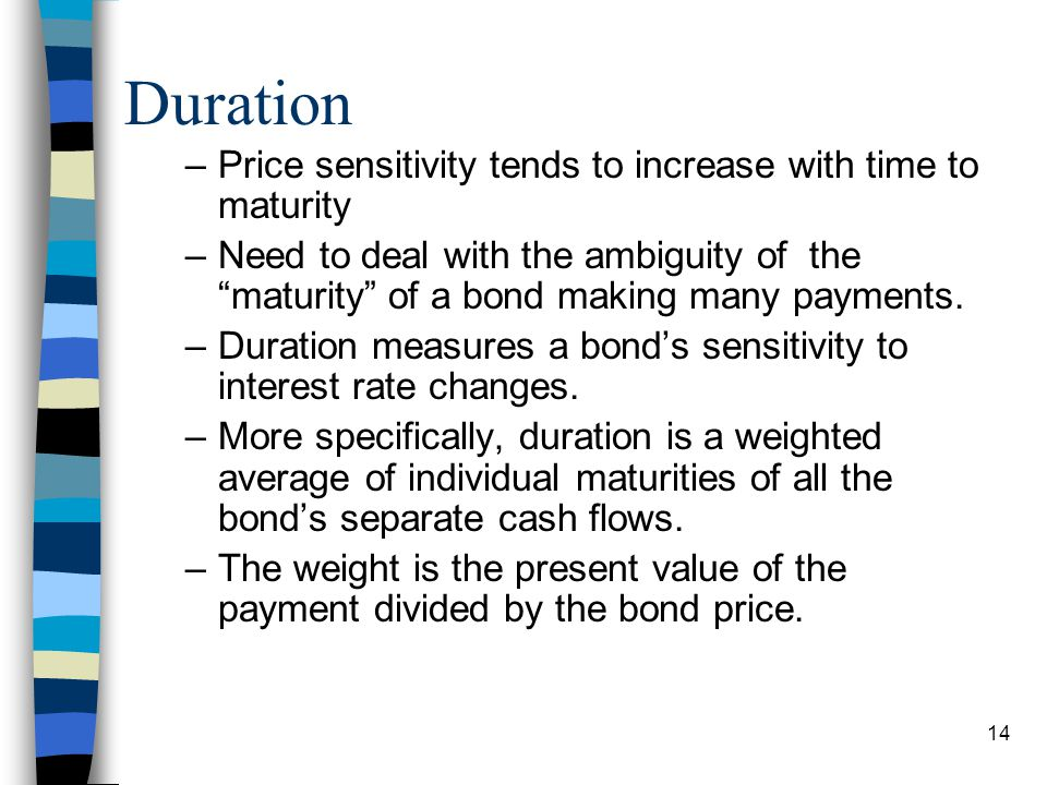 Duration Price sensitivity tends to increase with time to maturity