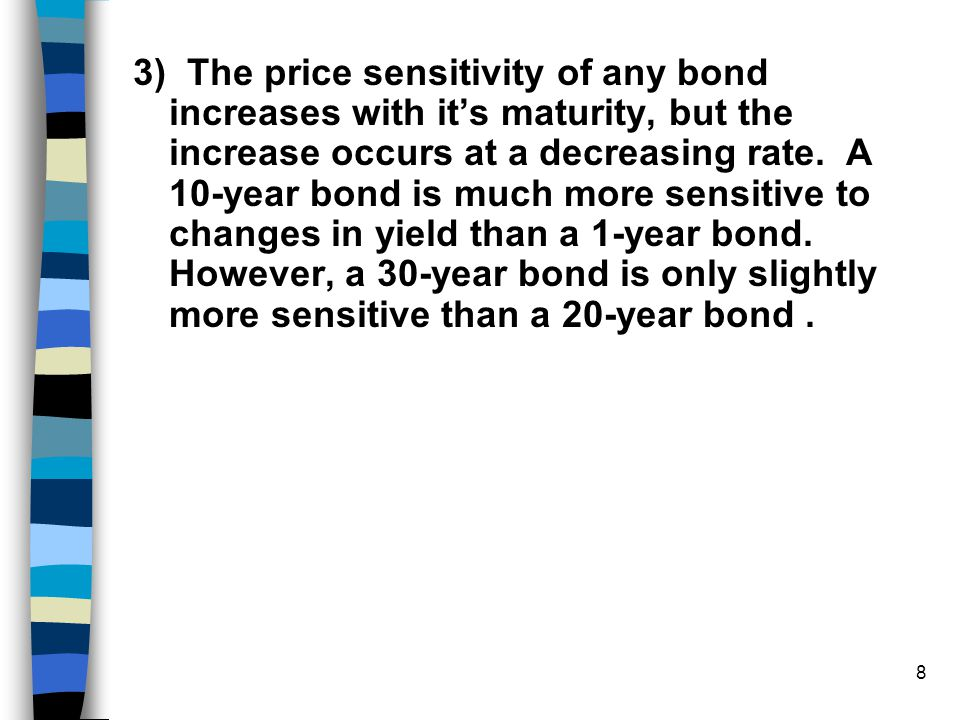 3) The price sensitivity of any bond increases with it's maturity, but the increase occurs at a decreasing rate.