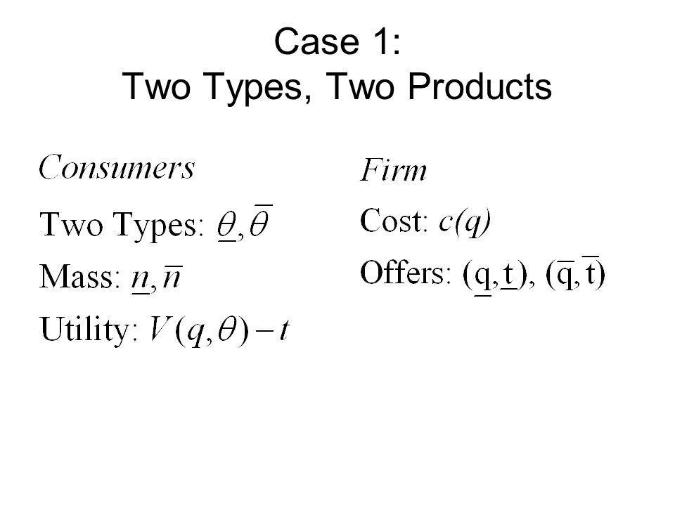 Case 1: Two Types, Two Products