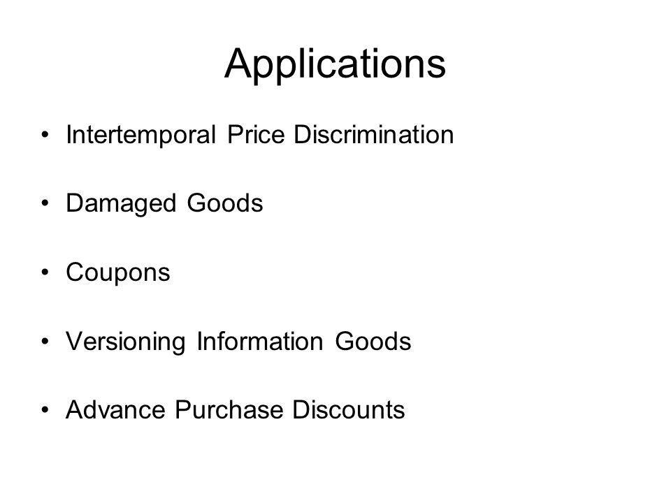 Applications Intertemporal Price Discrimination Damaged Goods Coupons