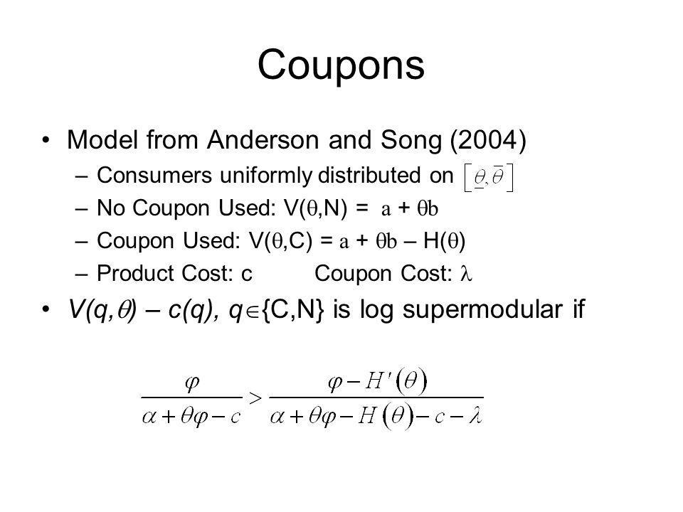 Coupons Model from Anderson and Song (2004)