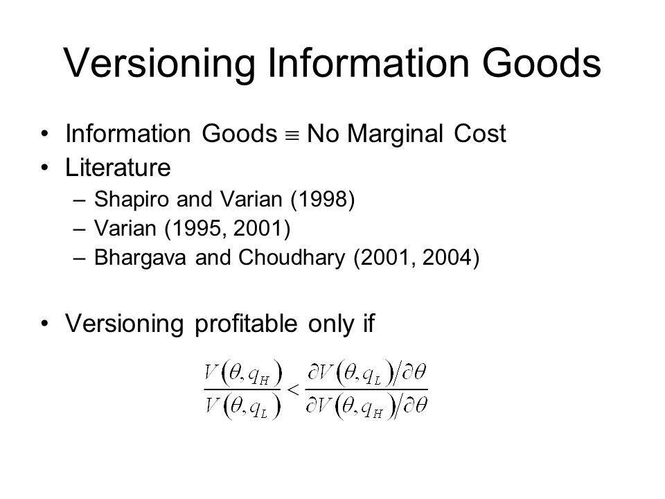 Versioning Information Goods