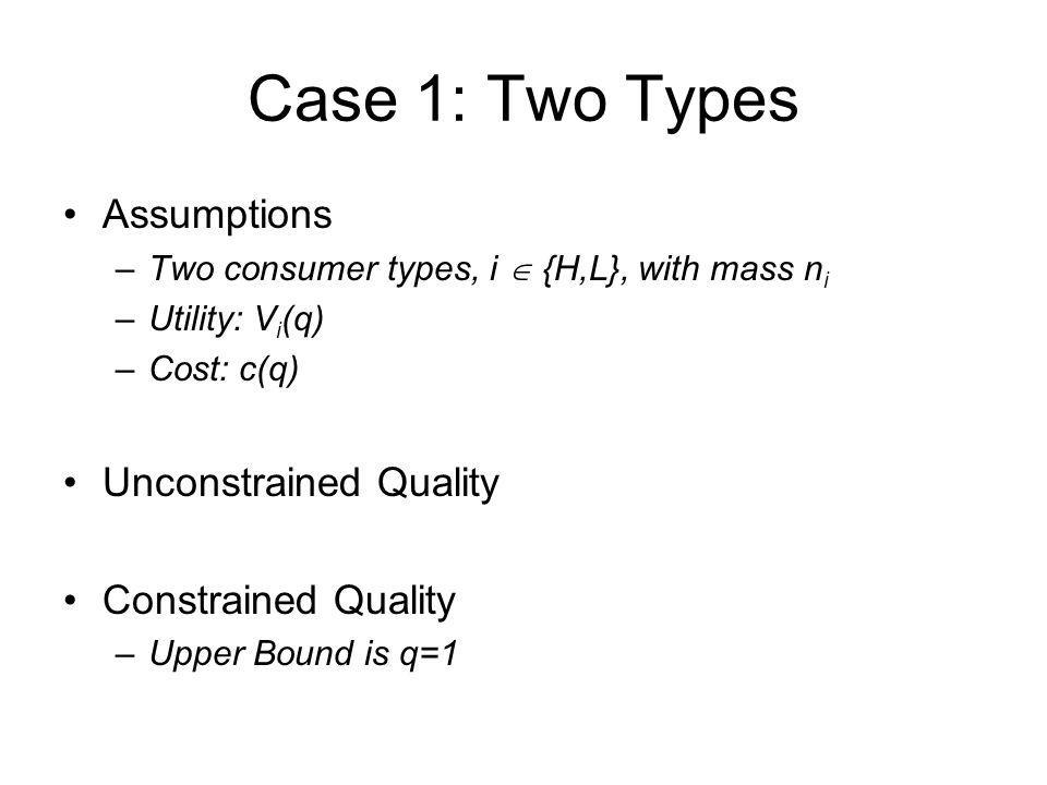 Case 1: Two Types Assumptions Unconstrained Quality