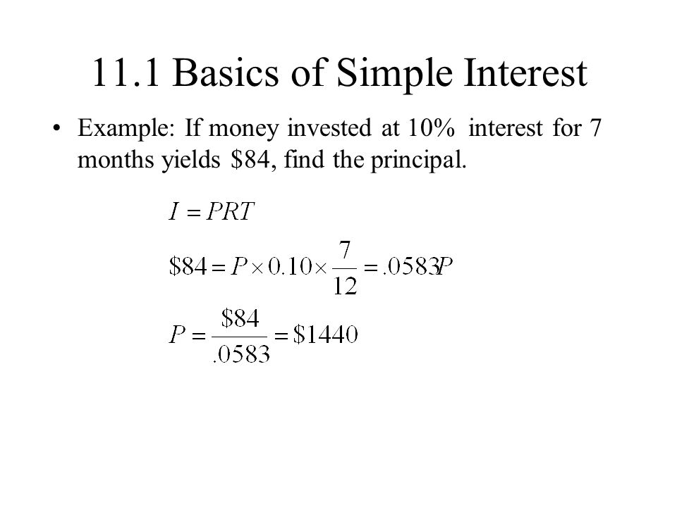 11.1 Basics of Simple Interest