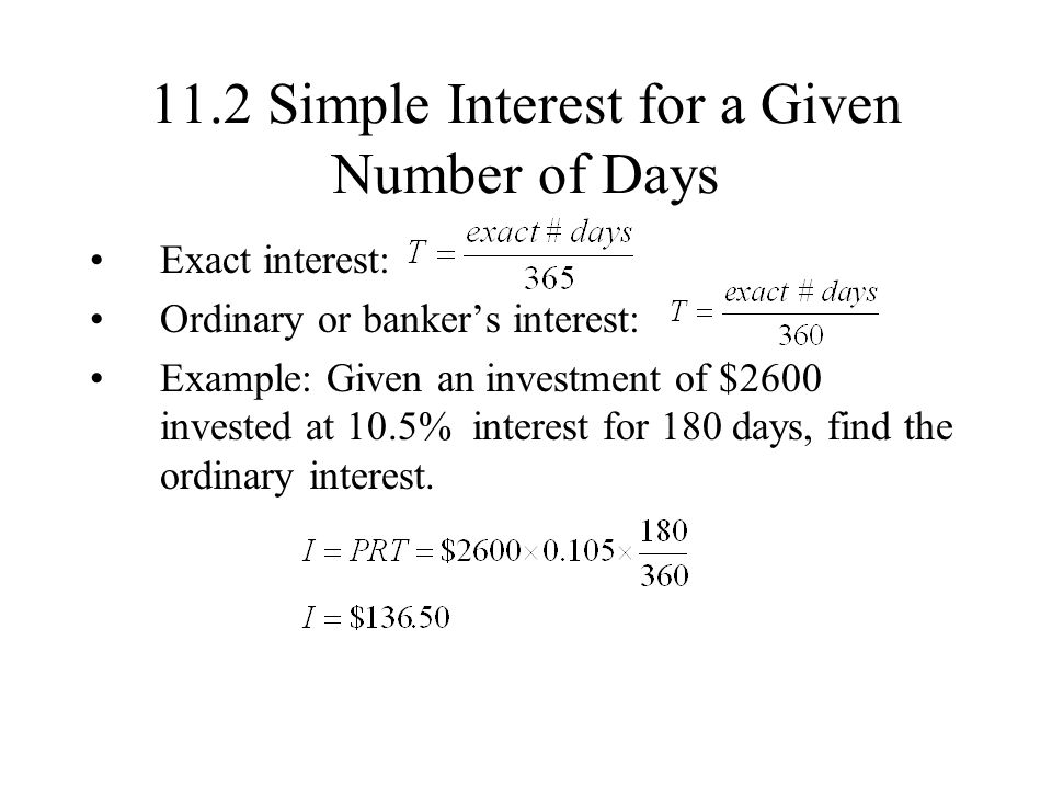 11.2 Simple Interest for a Given Number of Days