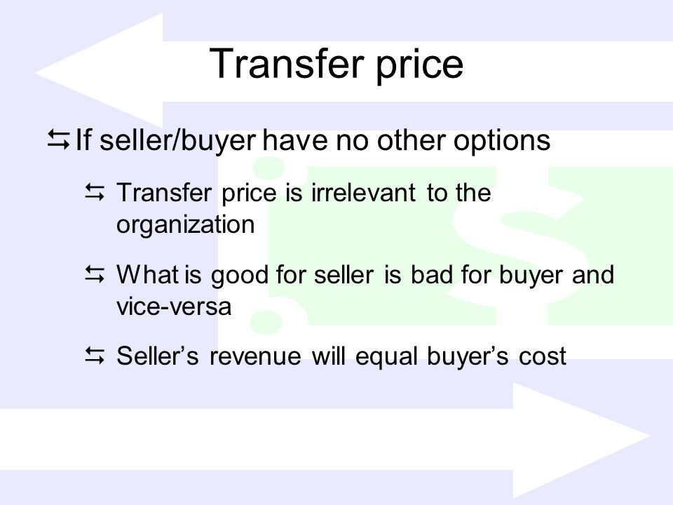 Transfer price If seller/buyer have no other options