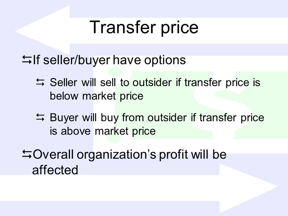 Transfer price If seller/buyer have options