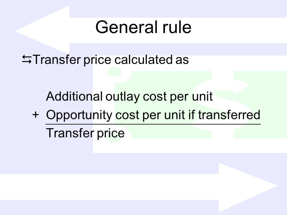 General rule Transfer price calculated as