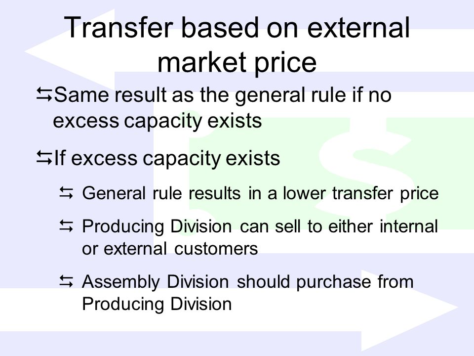 Transfer based on external market price