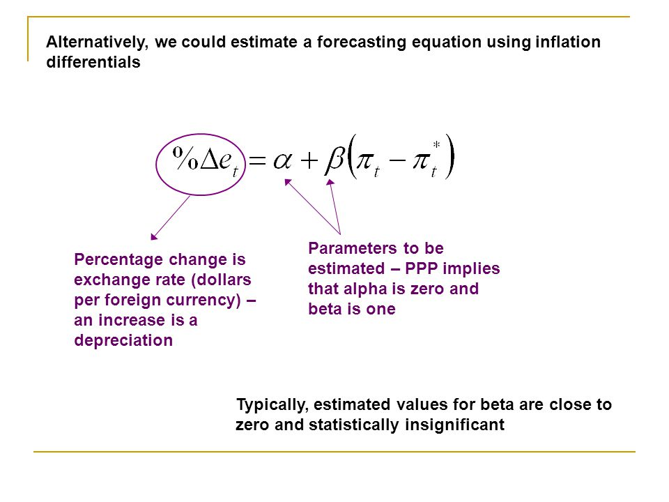 Alternatively, we could estimate a forecasting equation using inflation differentials