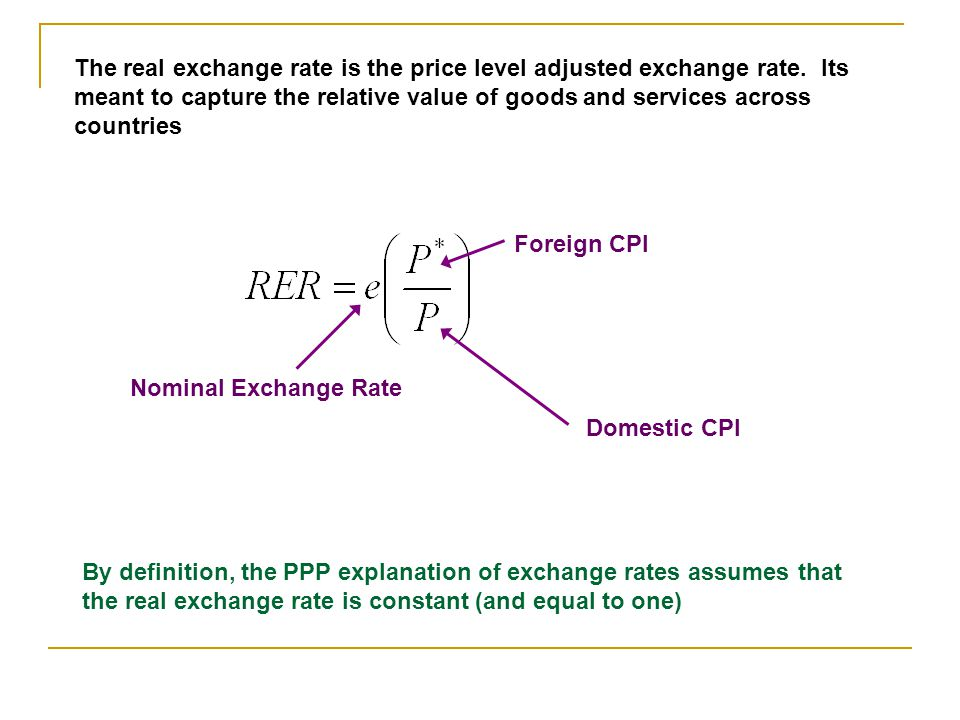 The real exchange rate is the price level adjusted exchange rate
