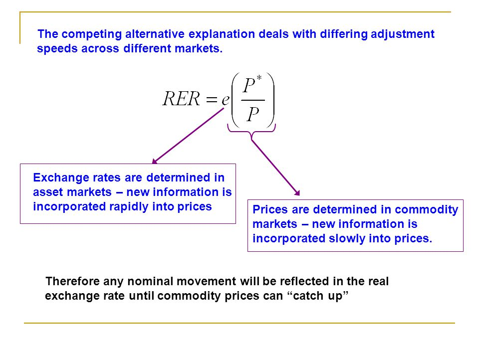 The competing alternative explanation deals with differing adjustment speeds across different markets.