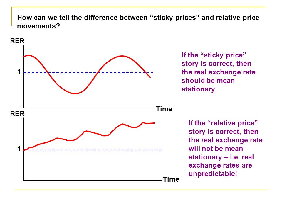 How can we tell the difference between sticky prices and relative price movements