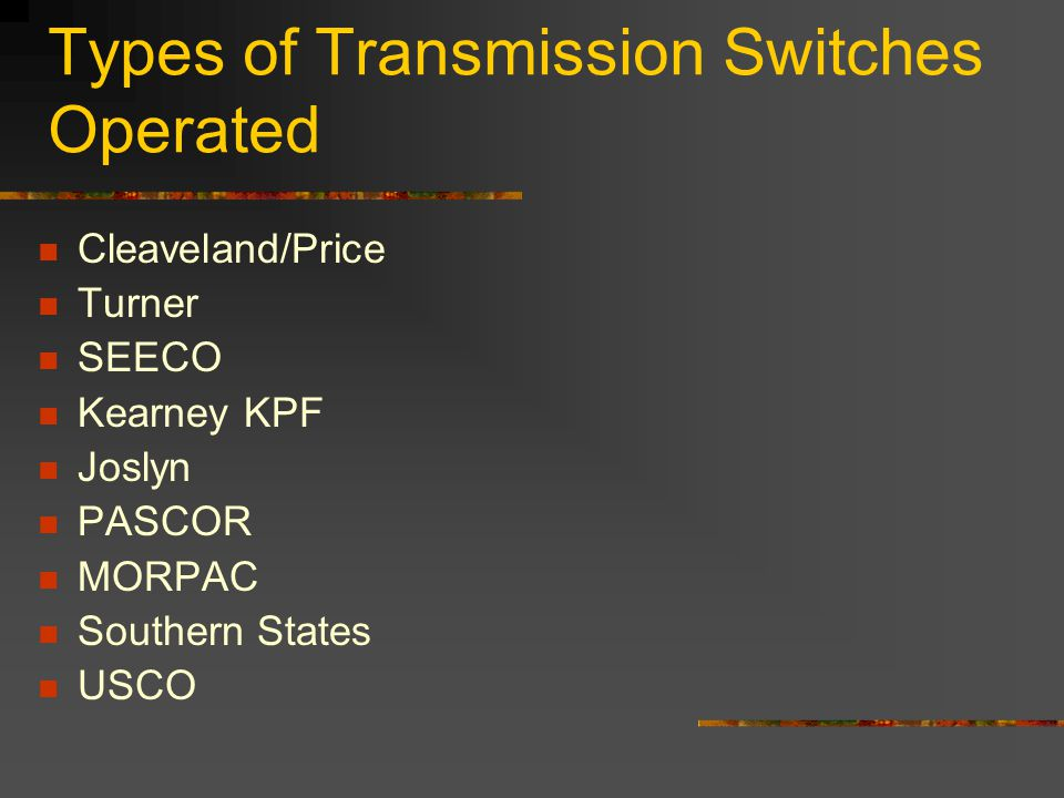 Types of Transmission Switches Operated