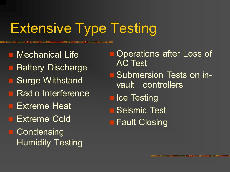 Extensive Type Testing