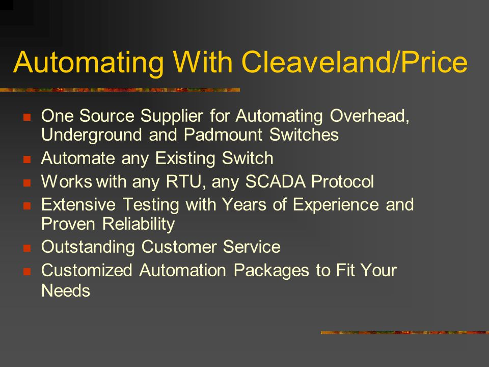 Automating With Cleaveland/Price