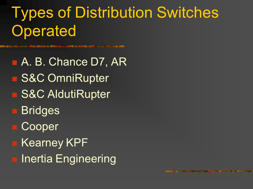 Types of Distribution Switches Operated