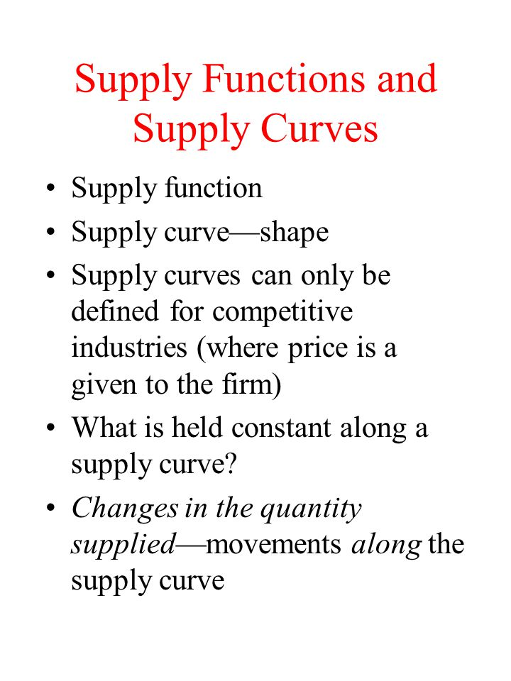 Supply Functions and Supply Curves