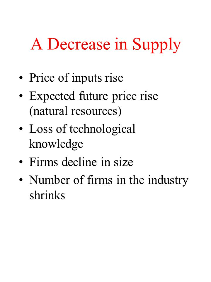 A Decrease in Supply Price of inputs rise