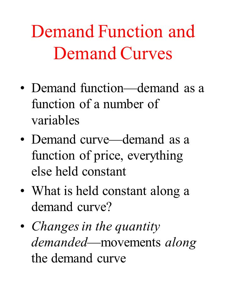 Demand Function and Demand Curves