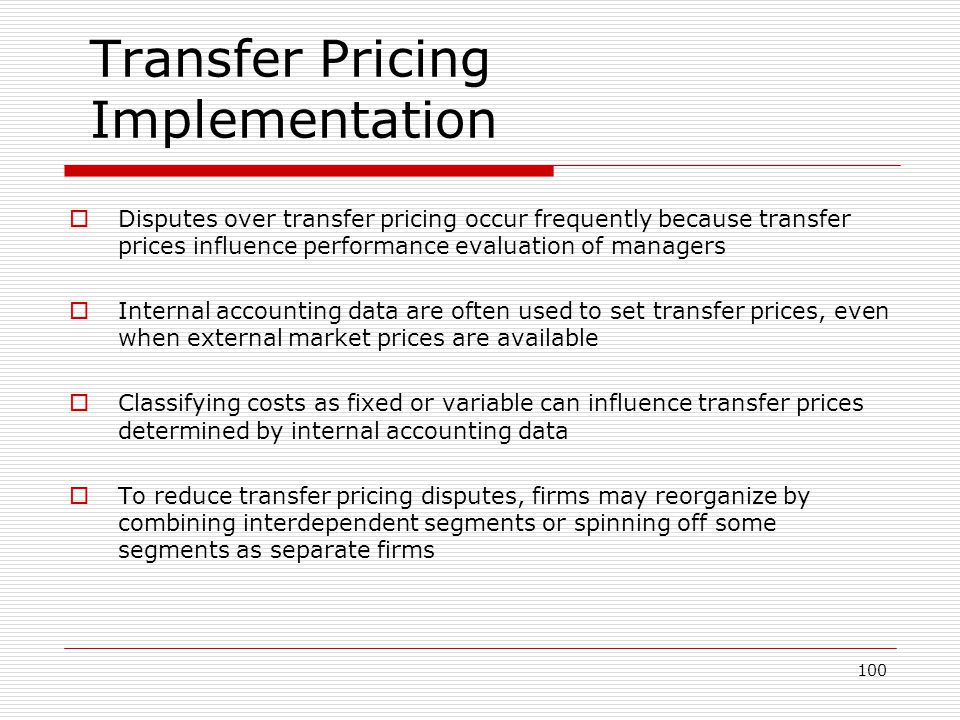 Transfer Pricing Implementation