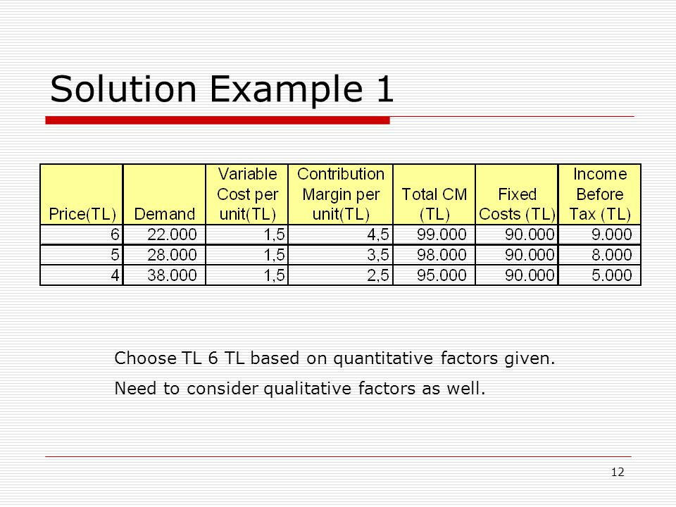 Solution Example 1 Choose TL 6 TL based on quantitative factors given.