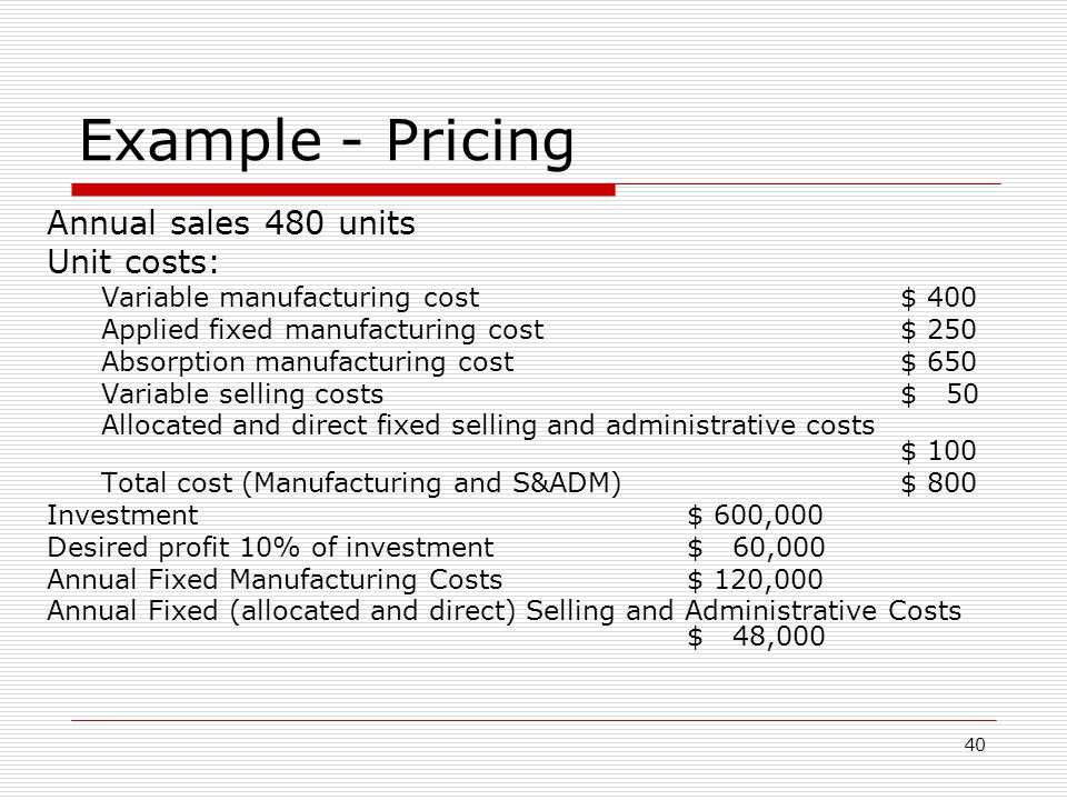 Example - Pricing Annual sales 480 units Unit costs: