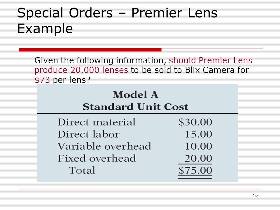 Special Orders – Premier Lens Example