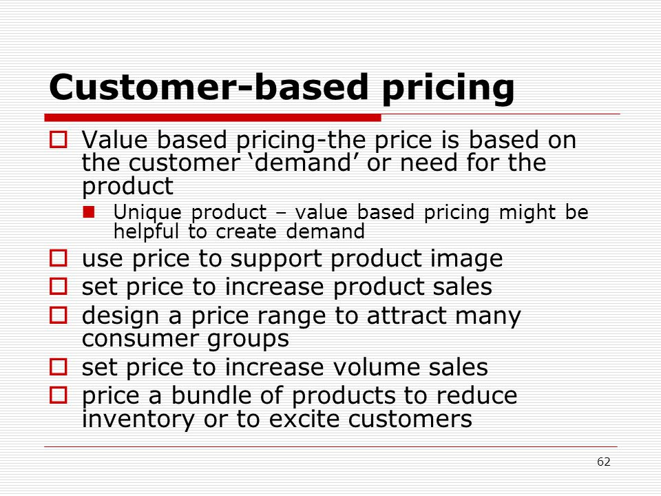 Customer-based pricing