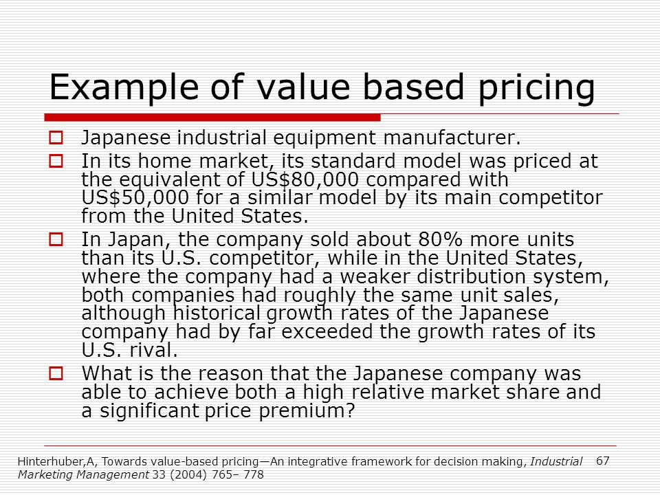 Example of value based pricing