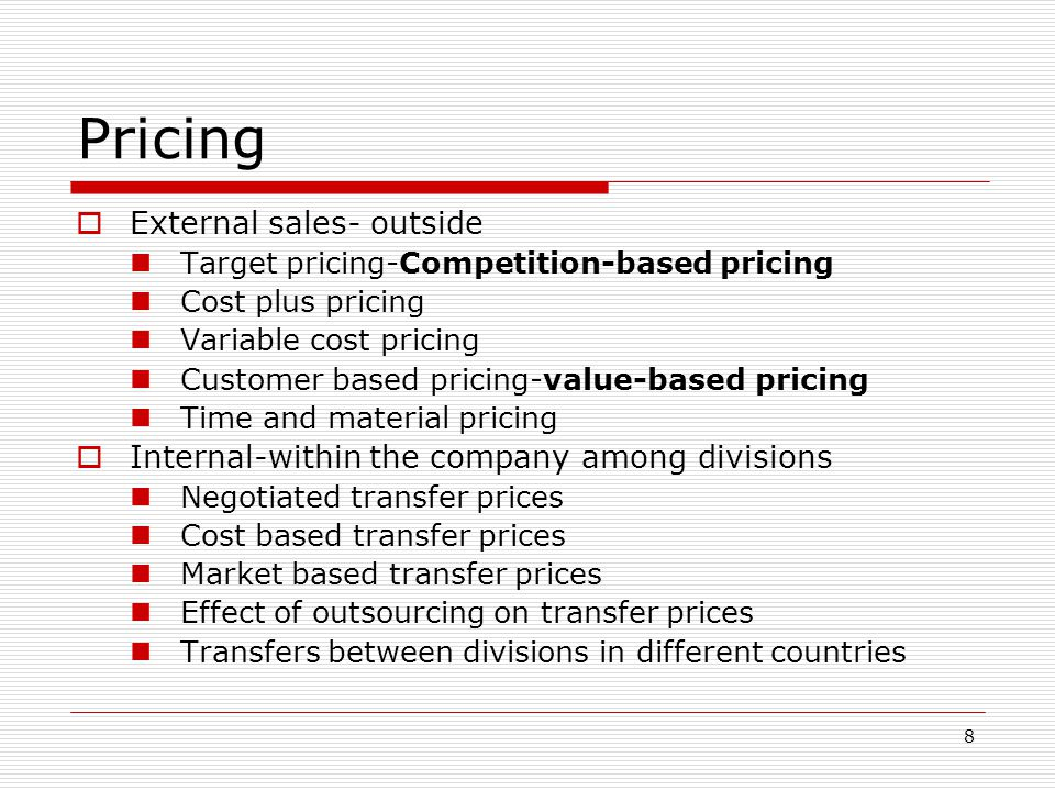Pricing External sales- outside
