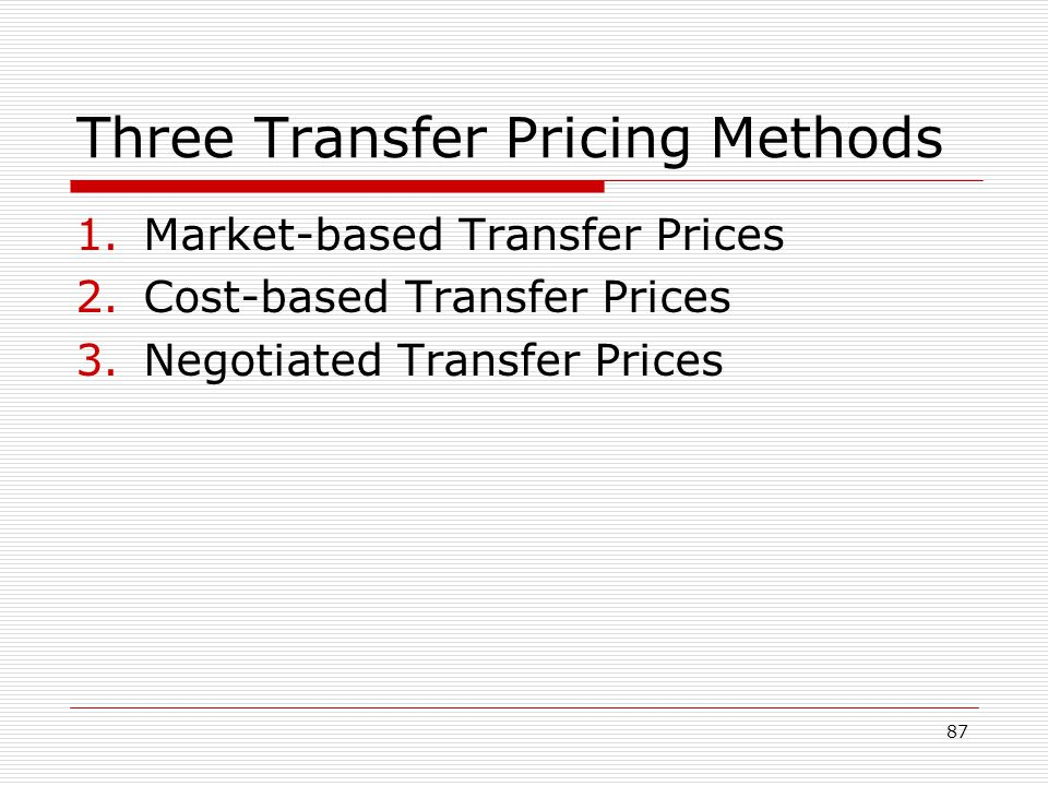 Three Transfer Pricing Methods