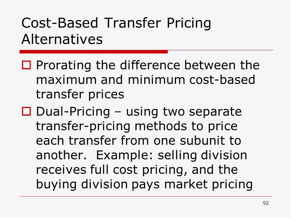 Cost-Based Transfer Pricing Alternatives