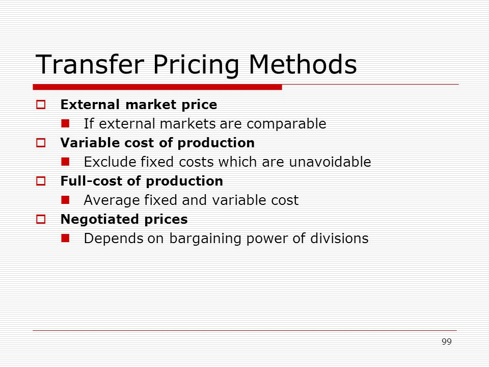 Transfer Pricing Methods