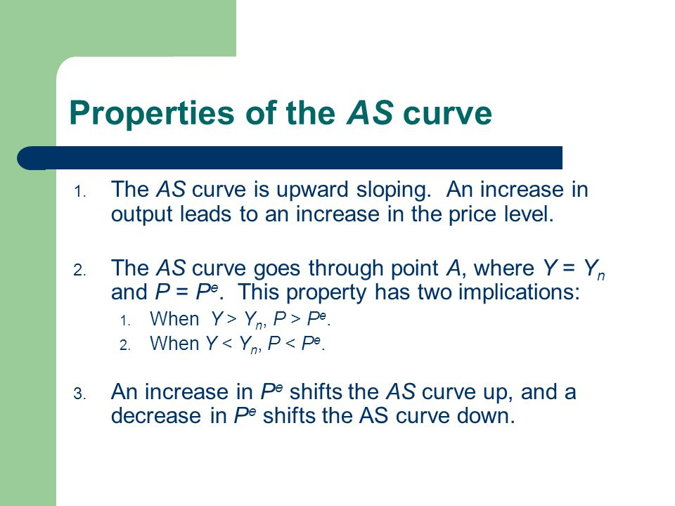 Properties of the AS curve