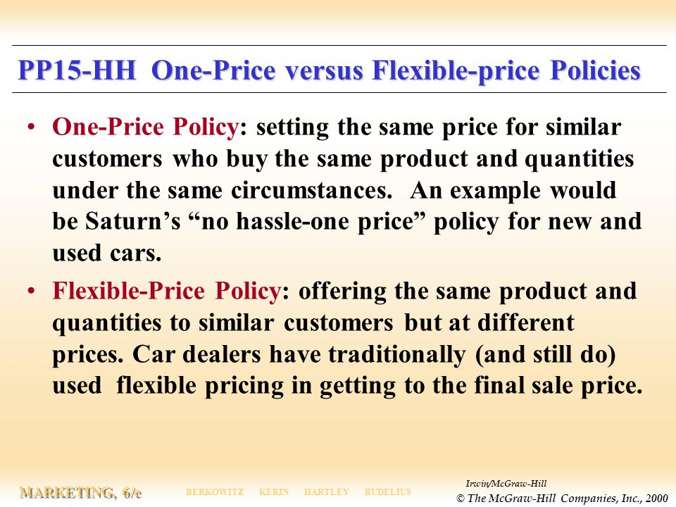 PP15-HH One-Price versus Flexible-price Policies