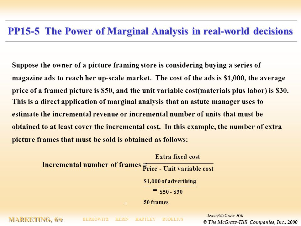 PP15-5 The Power of Marginal Analysis in real-world decisions