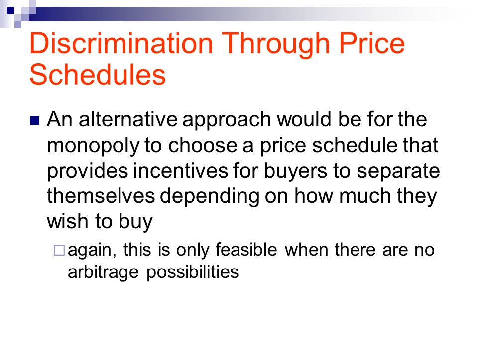 Discrimination Through Price Schedules