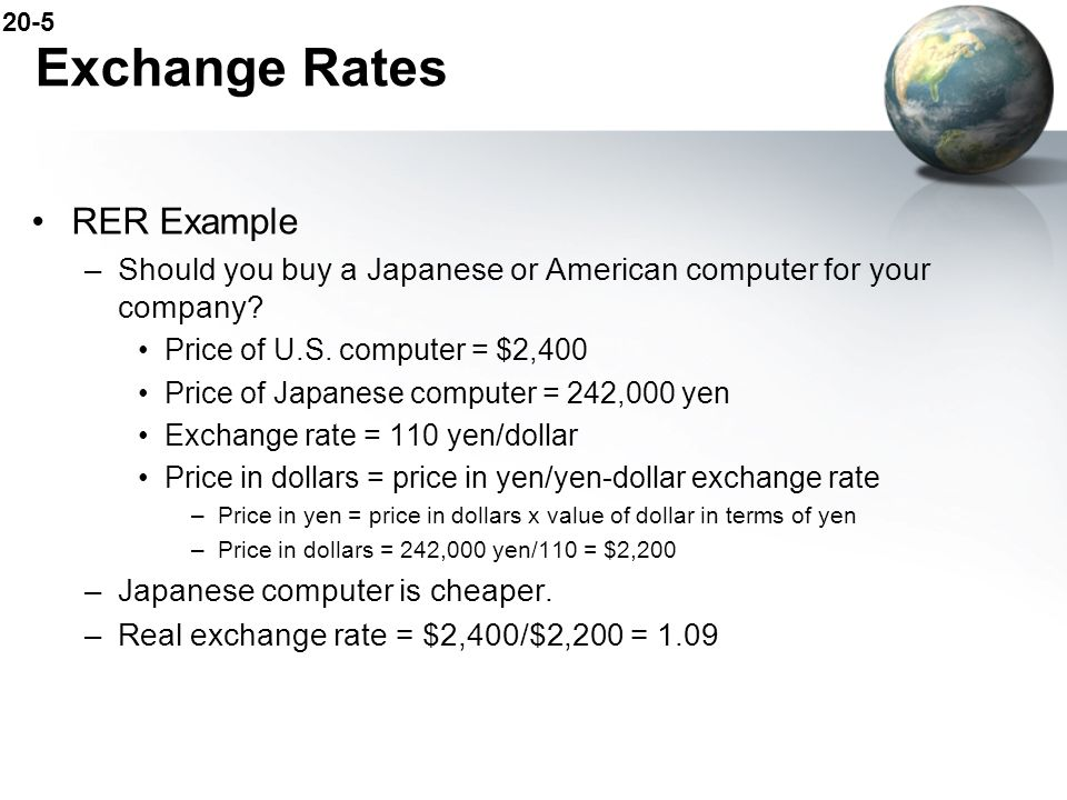 Exchange Rates RER Example