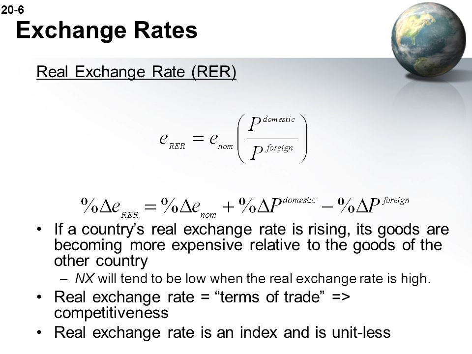 Exchange Rates Real Exchange Rate (RER)