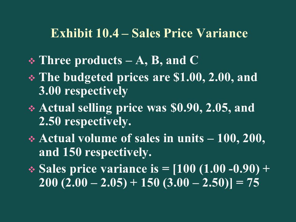 Exhibit 10.4 – Sales Price Variance